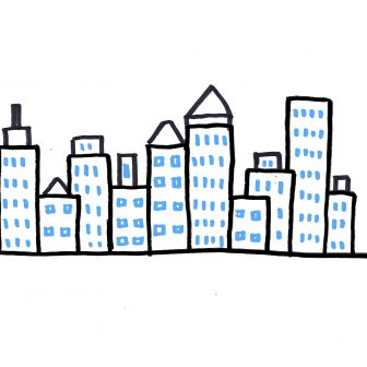336x336 City Skyline Drawing Black And White Cities Districts Brisbane