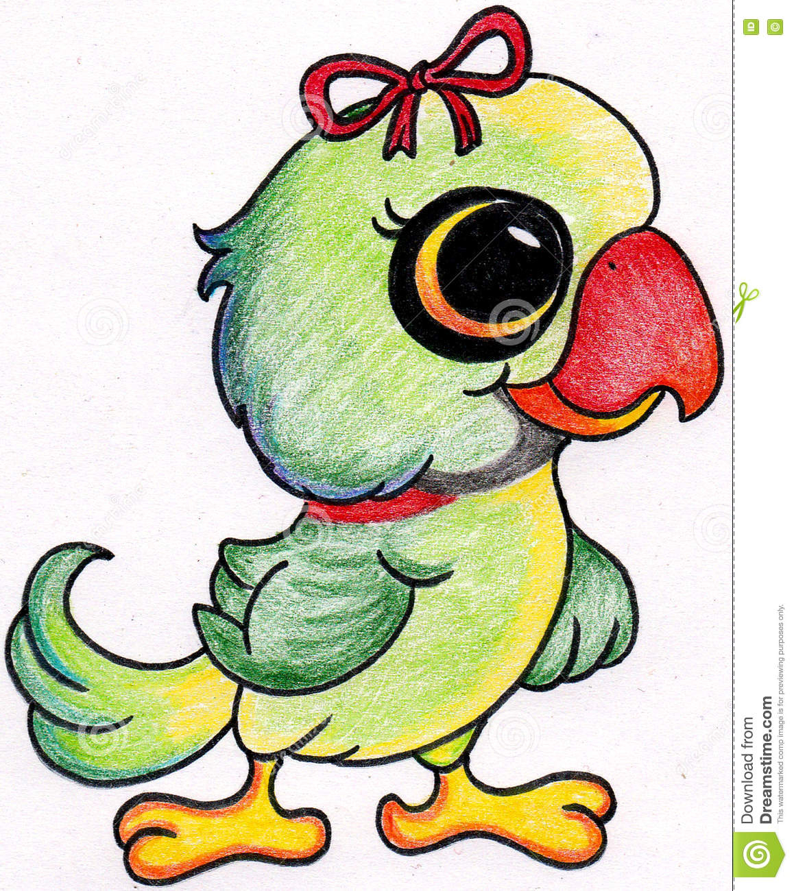 1158x1300 Cute Parrot Drawing Parrot Drawing Stock Illustration