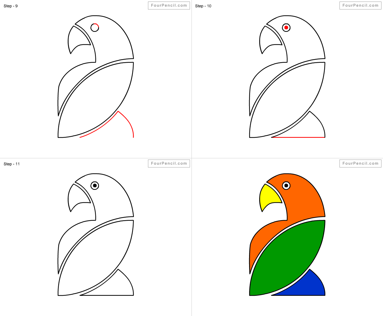 1250x1032 Steps To Draw A Parrot How To Draw Parrot For Kids Stepstep
