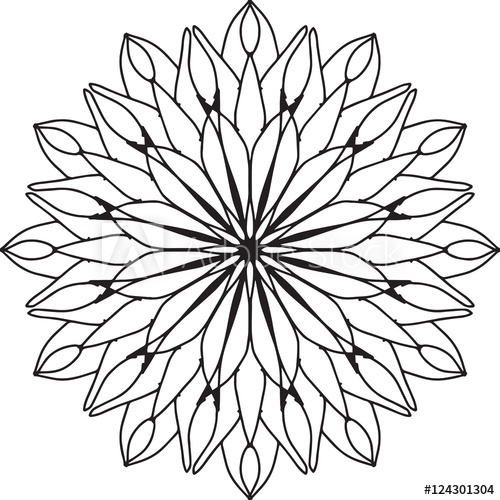 500x500 Abstract Dahlia Flower Line Drawing Pattern Design Element