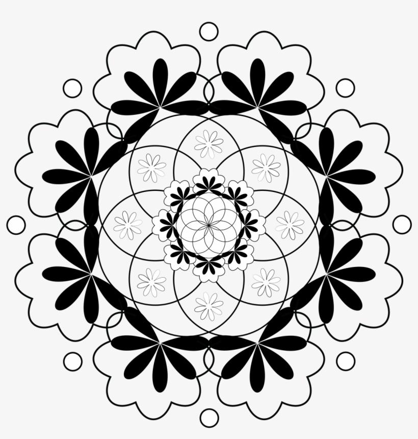 820x860 Pattern Flower Table Cloth Round Circle Black White