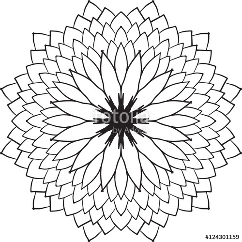 500x500 Abstract Flower Drawing Circle Pattern Design Floral Element