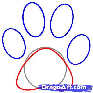 398x398 Draw A Paw Print, Step
