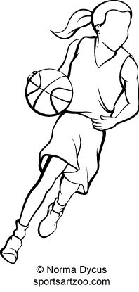 198x415 Basketball Girl Dribble Outline Silhouette Basketball Drawings