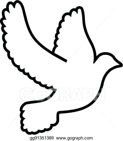 410x470 dove outline drawing flying dove vector sketch dove of peace