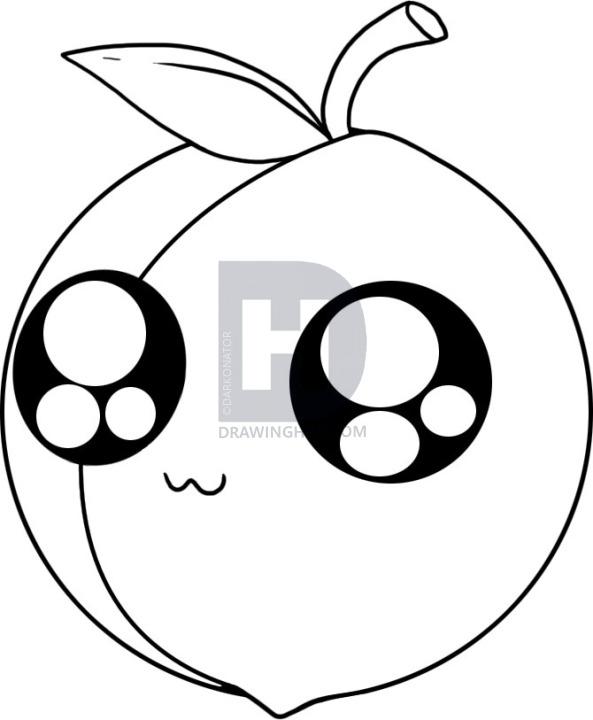 593x720 How To Draw A Peach, Step
