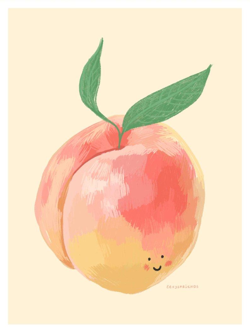 794x1055 Peach Print Fruit Print Illustration Print Kitchen Art Etsy