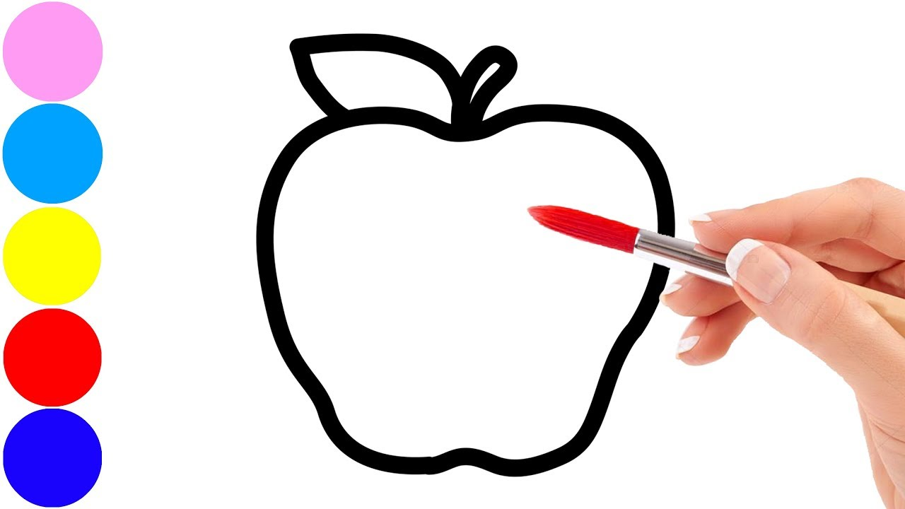 1280x720 Drawing Fruits Apple, Peach, Banana, Pear And Coloring For Kids