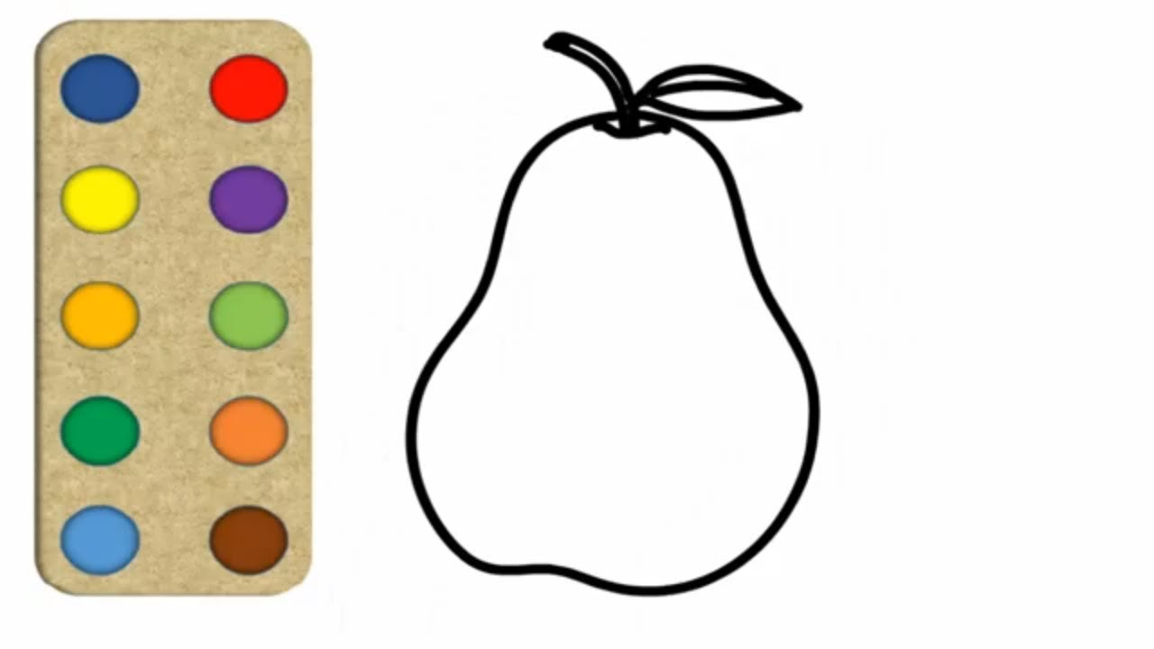1280x720 pear drawing coloring for kids toddlers toddlers tv