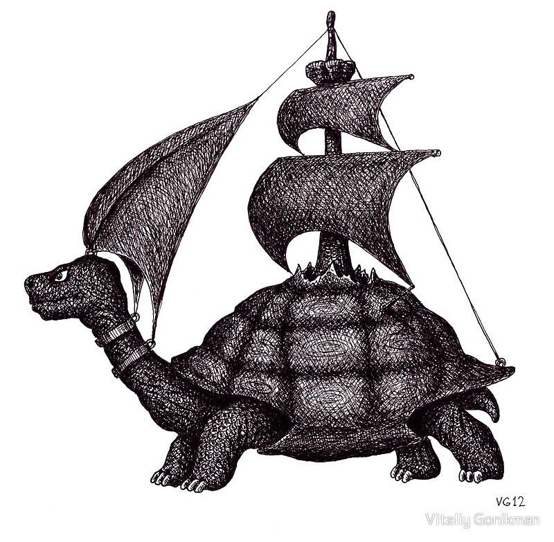 800x783 Sailing Turtle Surreal Black And White Pen Ink Drawing