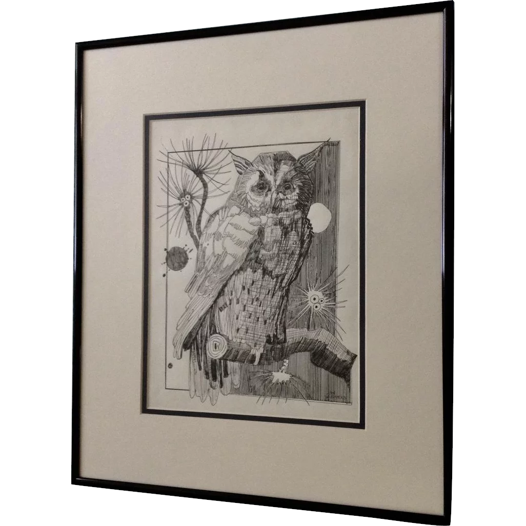 1026x1026 Jan Wiemers Owl Watching Over You Pen And Ink Drawing Signed