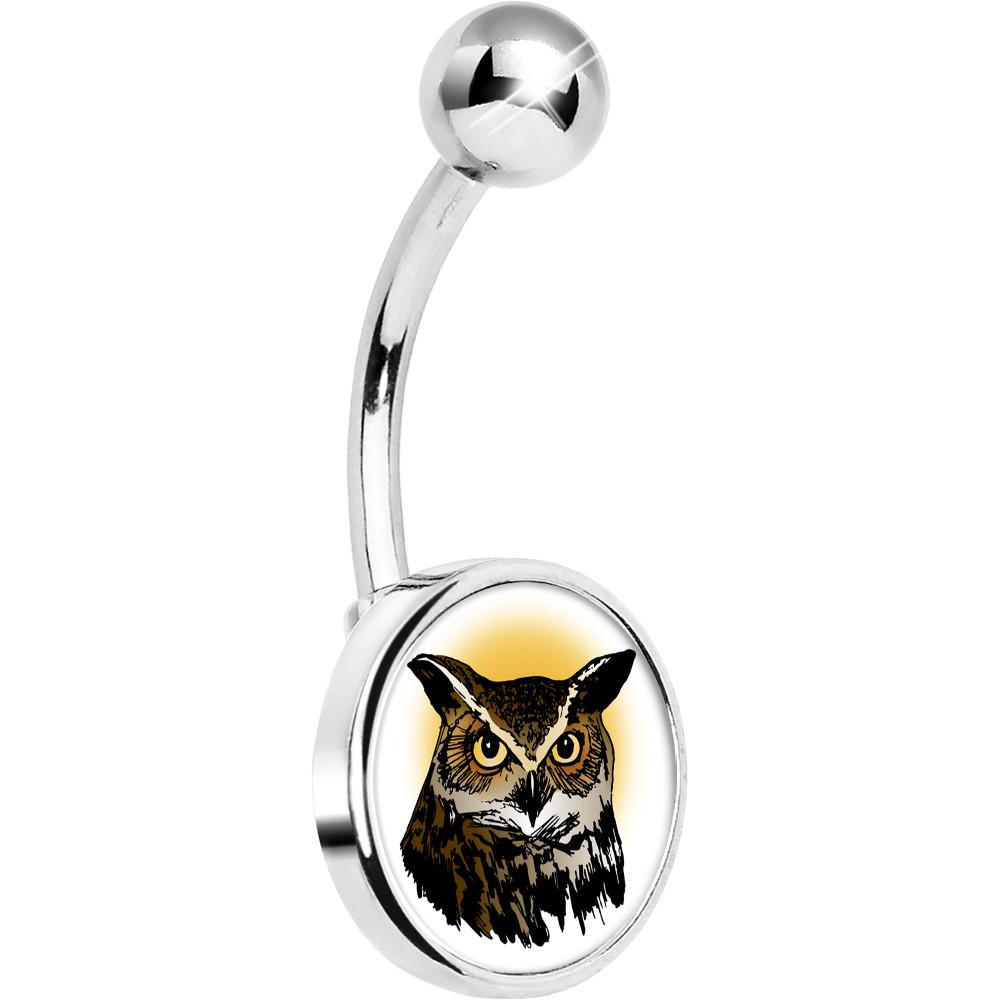 1000x1000 Stainless Steel Brown Horned Owl Belly Ring Bodycandy