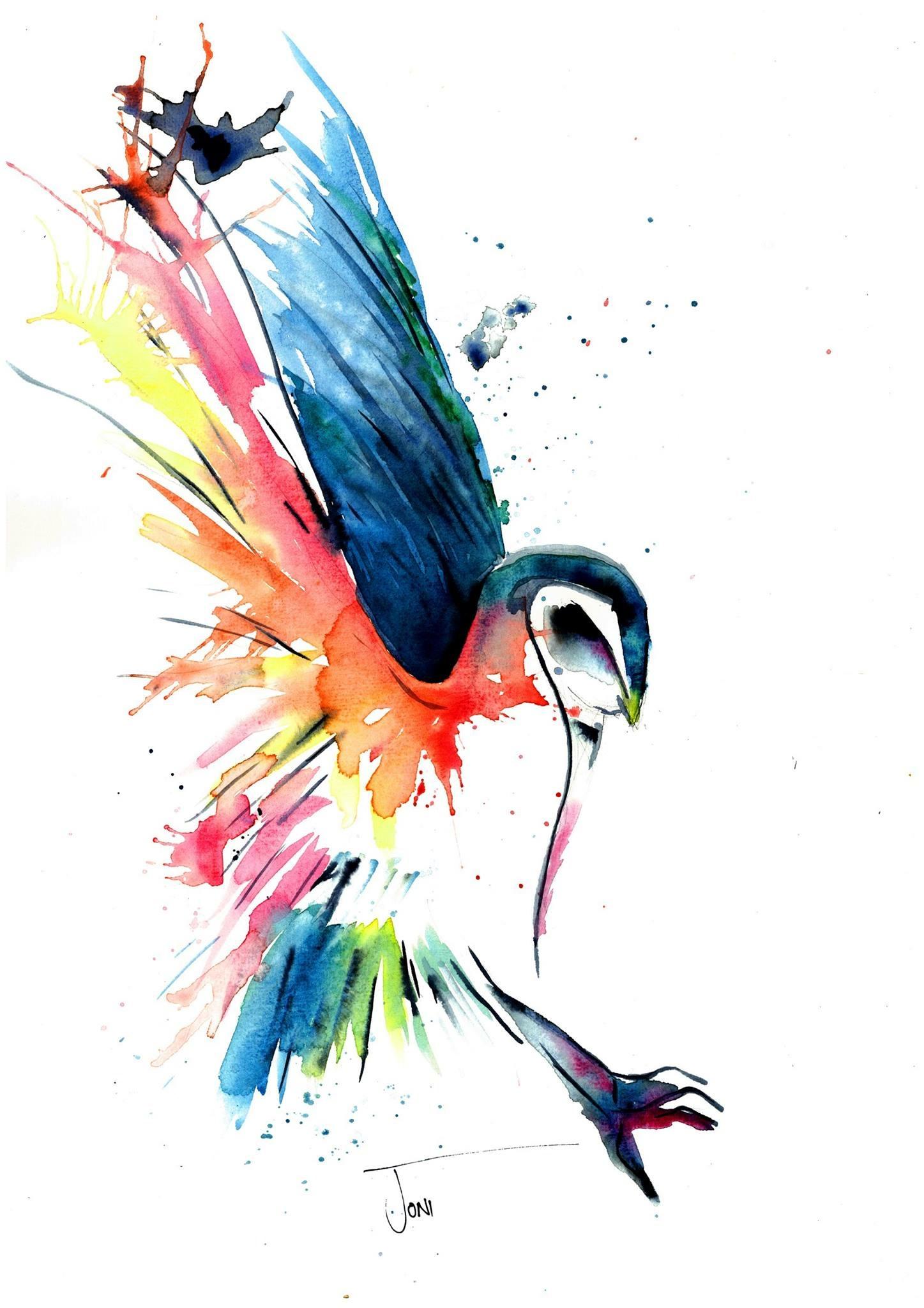 1447x2048 Watercolour Spectrum Owl Original Hand Painted Artwork Is Created