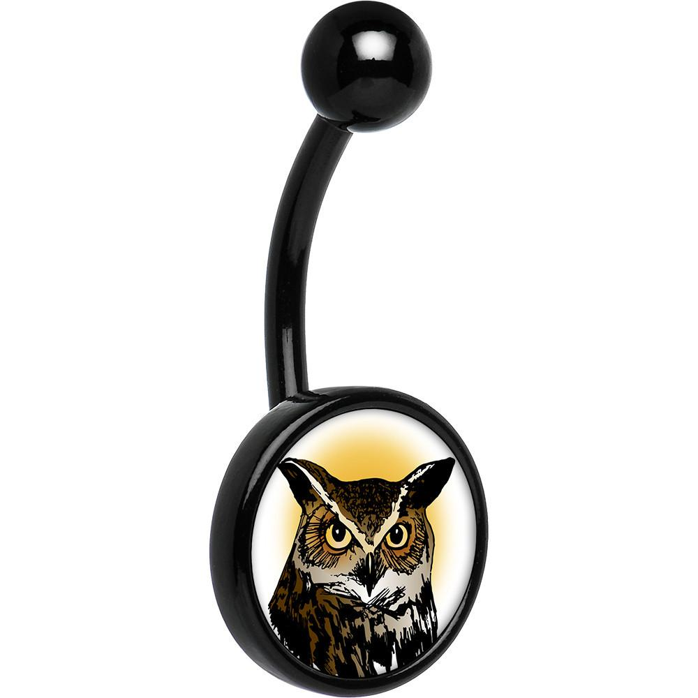 1000x1000 Black Anodized Titanium Brown Horned Owl Belly Ring Bodycandy