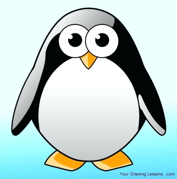 600x609 how to draw a penguin outline baby penguin draw penguin image