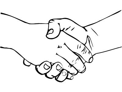 400x300 Shaking Hands Drawing Clipart Image