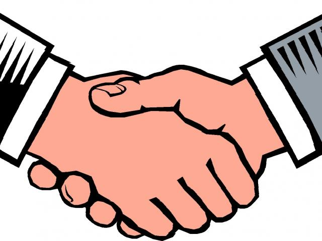 640x480 Two People Shaking Hands Drawing