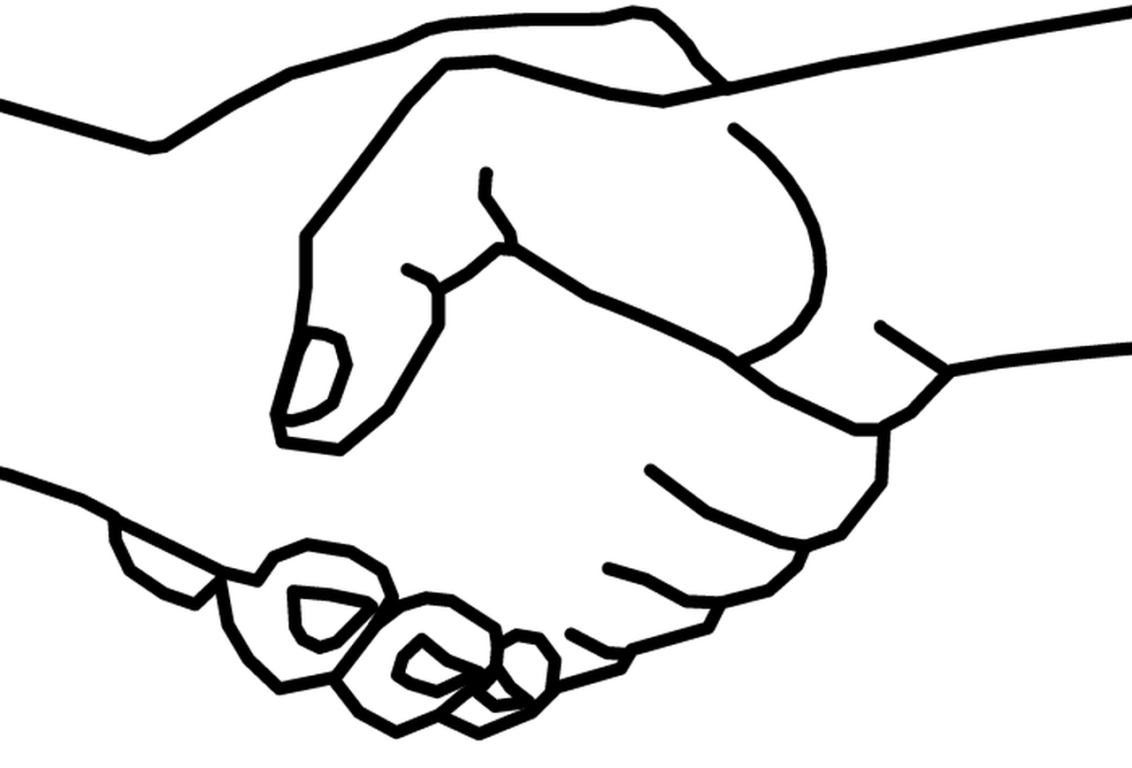 1280x868 Handshake Drawing Two Man For Free Download