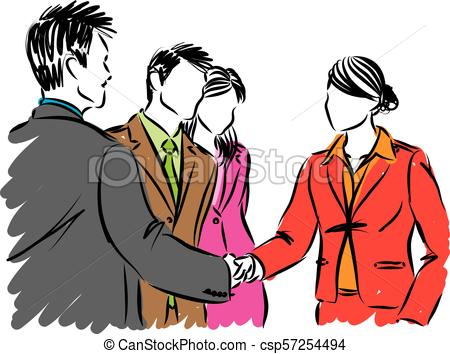 450x354 Business People Shaking Hands Vector Illustration