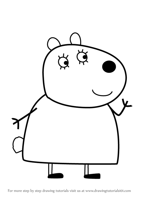 566x800 Learn How To Draw Mummy Sheep From Peppa Pig