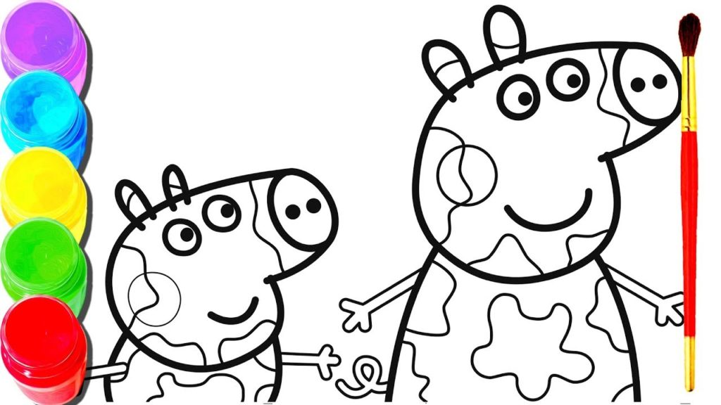 1024x576 Peppa Pig Drawing Painting George Pig Painting Coloring Book