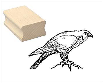 355x287 stamp wood stamp motif stamp peregrine falcon scrapbooking