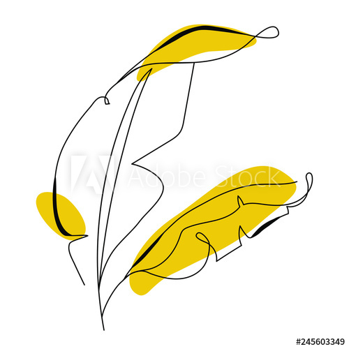 500x500 One Line Drawing Banana Tree Leaf Modern Single Line Art
