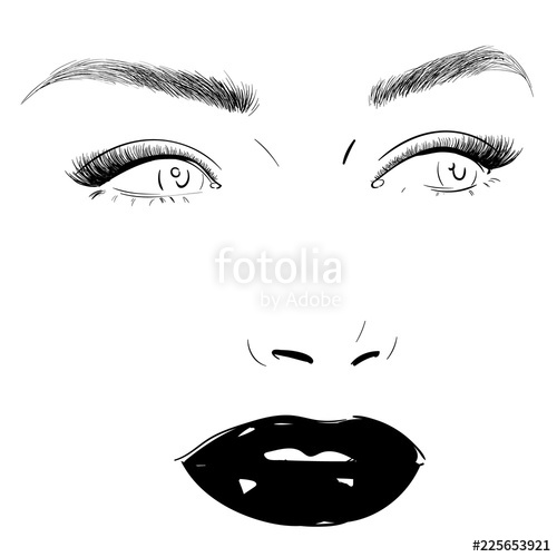 500x500 Fashion Woman Face Portrait Vector Drawing Perfect Lips, Lashes