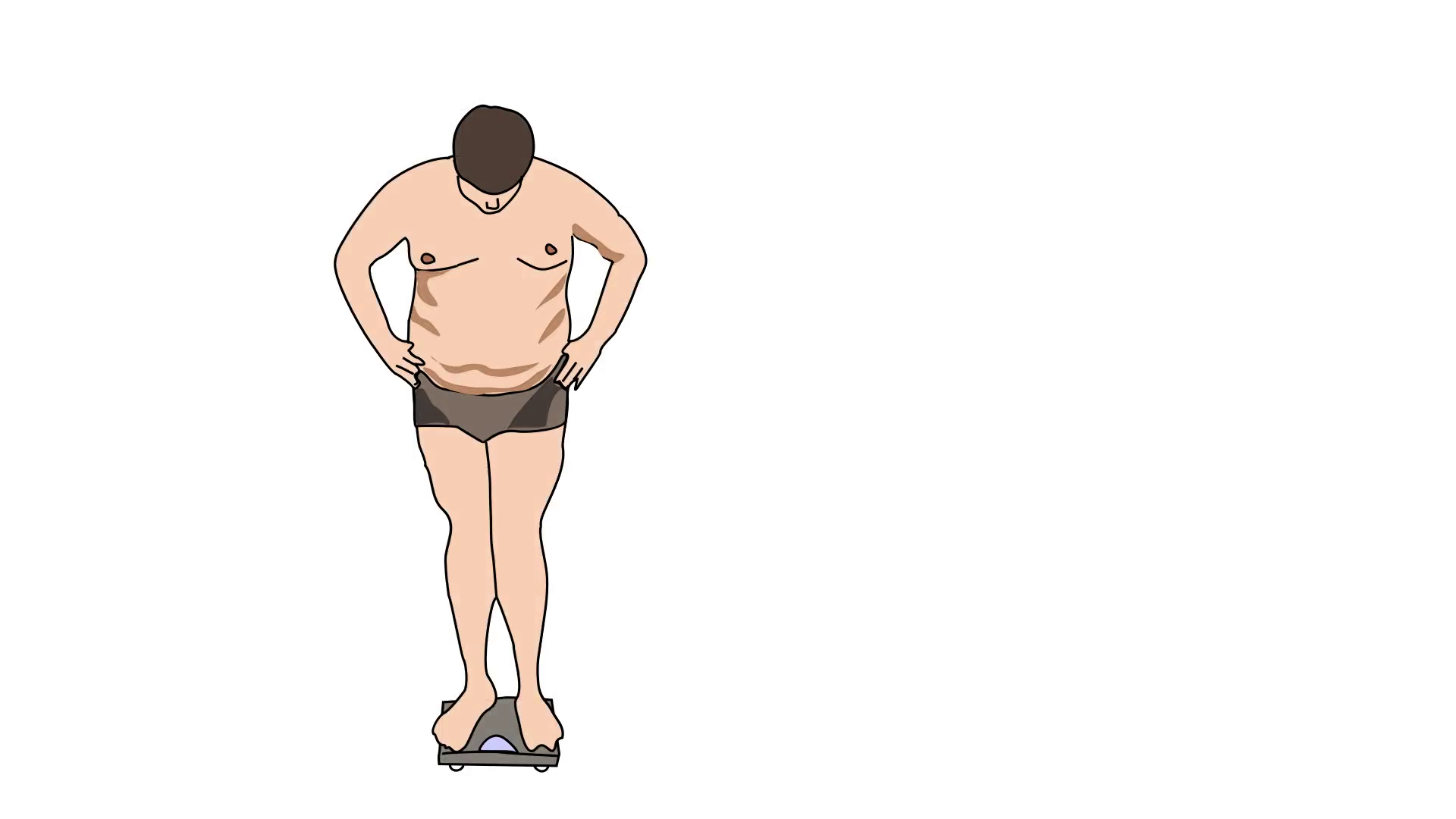 1920x1080 animated drawing of heavy obese man on scale with head down