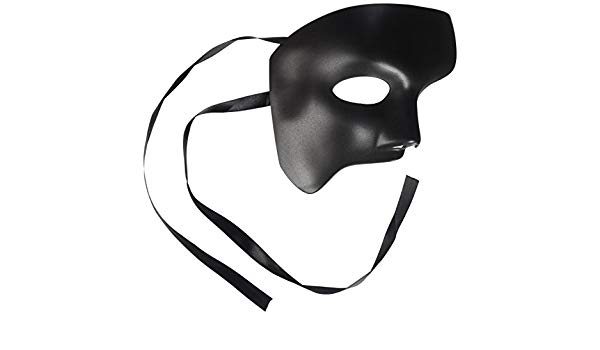 600x350 men's black half mask blank mask masquerade mask, phantom