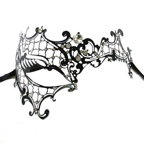 500x500 black metal half face masquerade mask masquerade express
