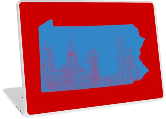 558x400 Philly Skyline Outline Red And Blue Laptop Skins
