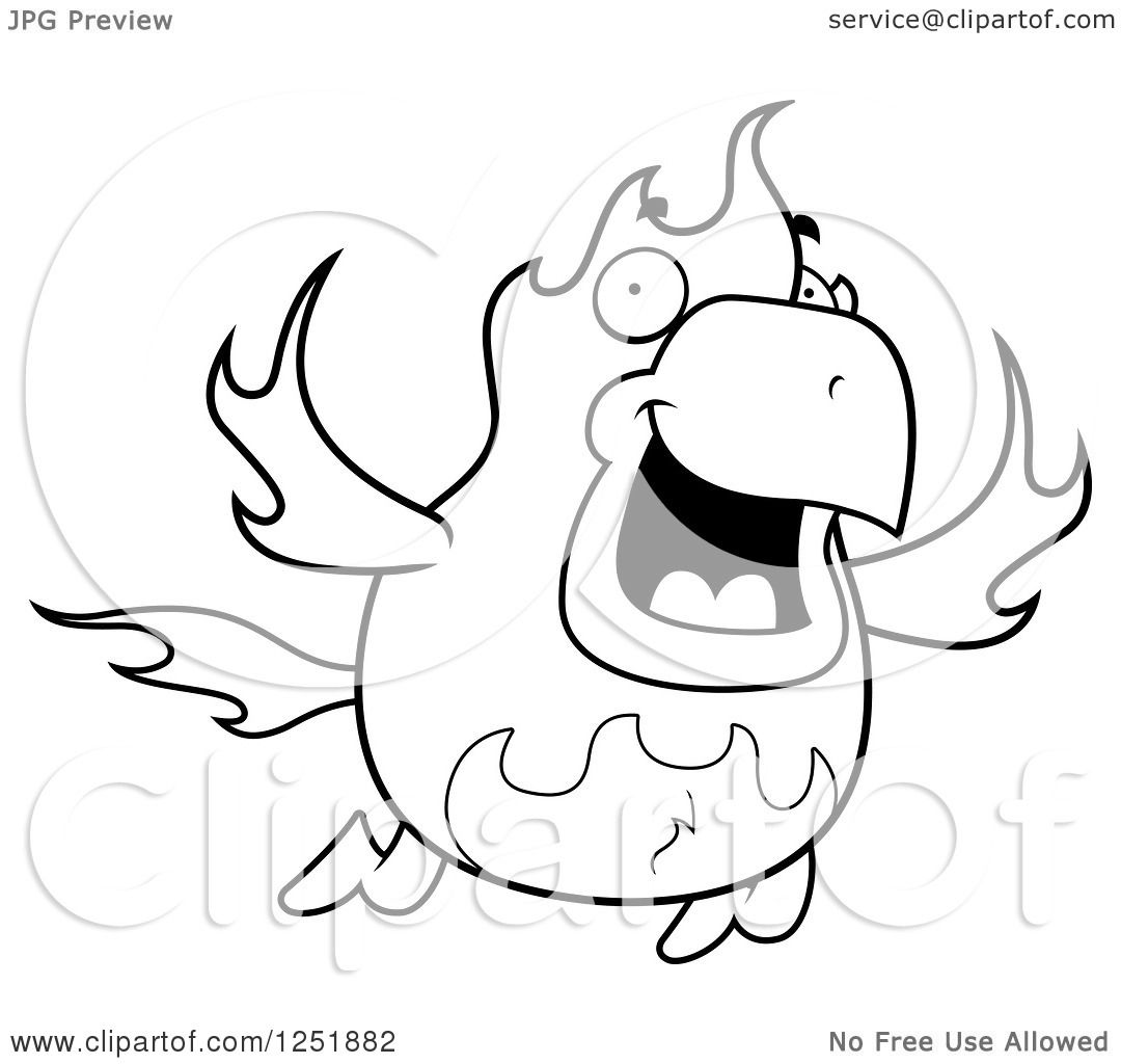 1080x1024 Clipart Of A Black And White Flying Fire Bird Phoenix
