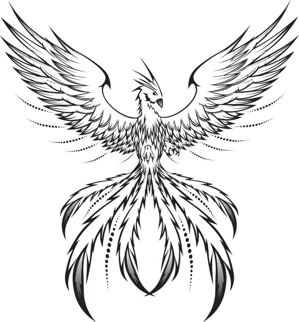 600x646 Wings Lineart Phoenix For Free Download