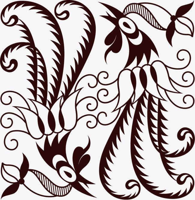 650x666 black line phoenix, line clipart, black, line png image