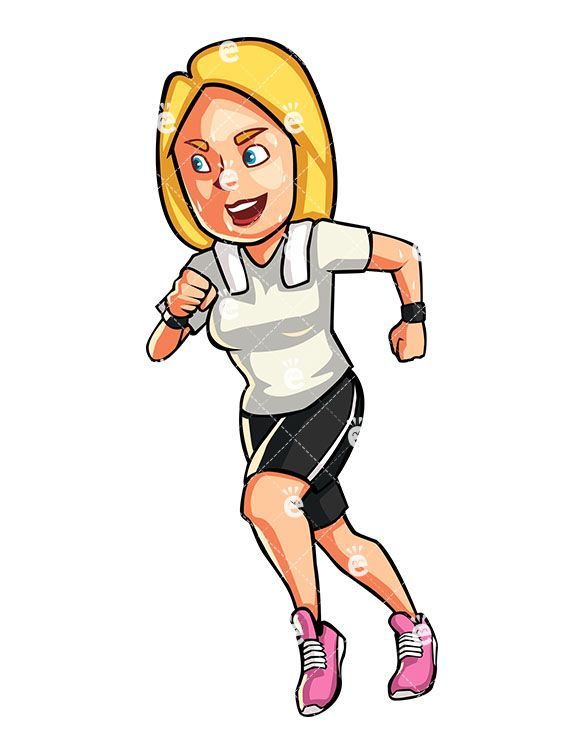 585x755 a blonde woman jogging working out clipart blonde women