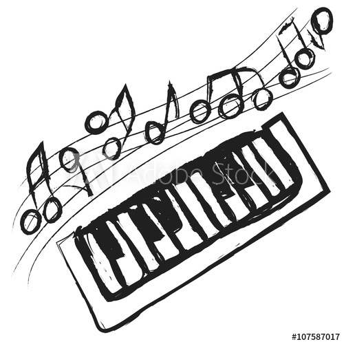 500x500 Doodle Piano Keys And Music Notes