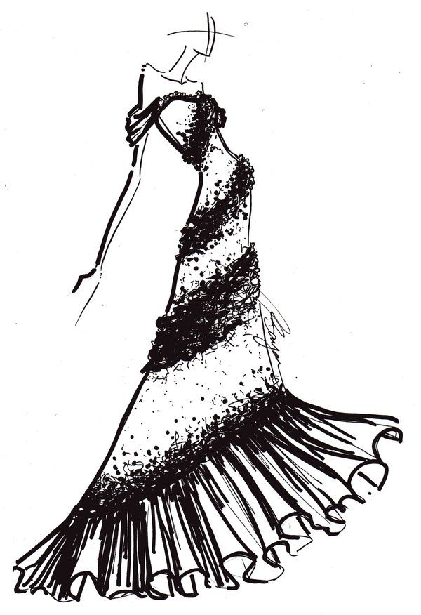 600x876 Piano Drawing Dress For Free Download