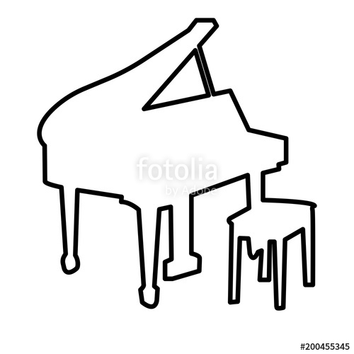 500x500 Grand Piano Outline On White Background Stock Image And Royalty