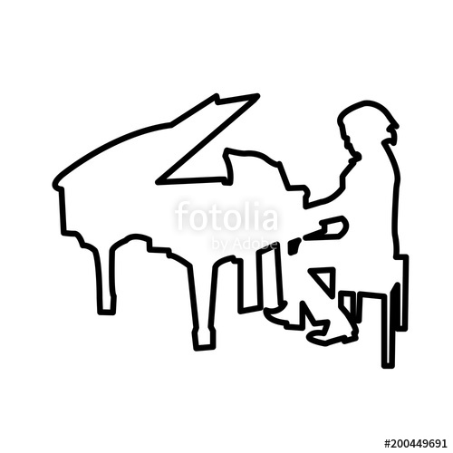 500x500 Piano Player Outline On White Background Stock Image And Royalty