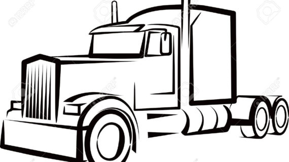570x320 semi truck clipart semi truck outline drawing simple illustration