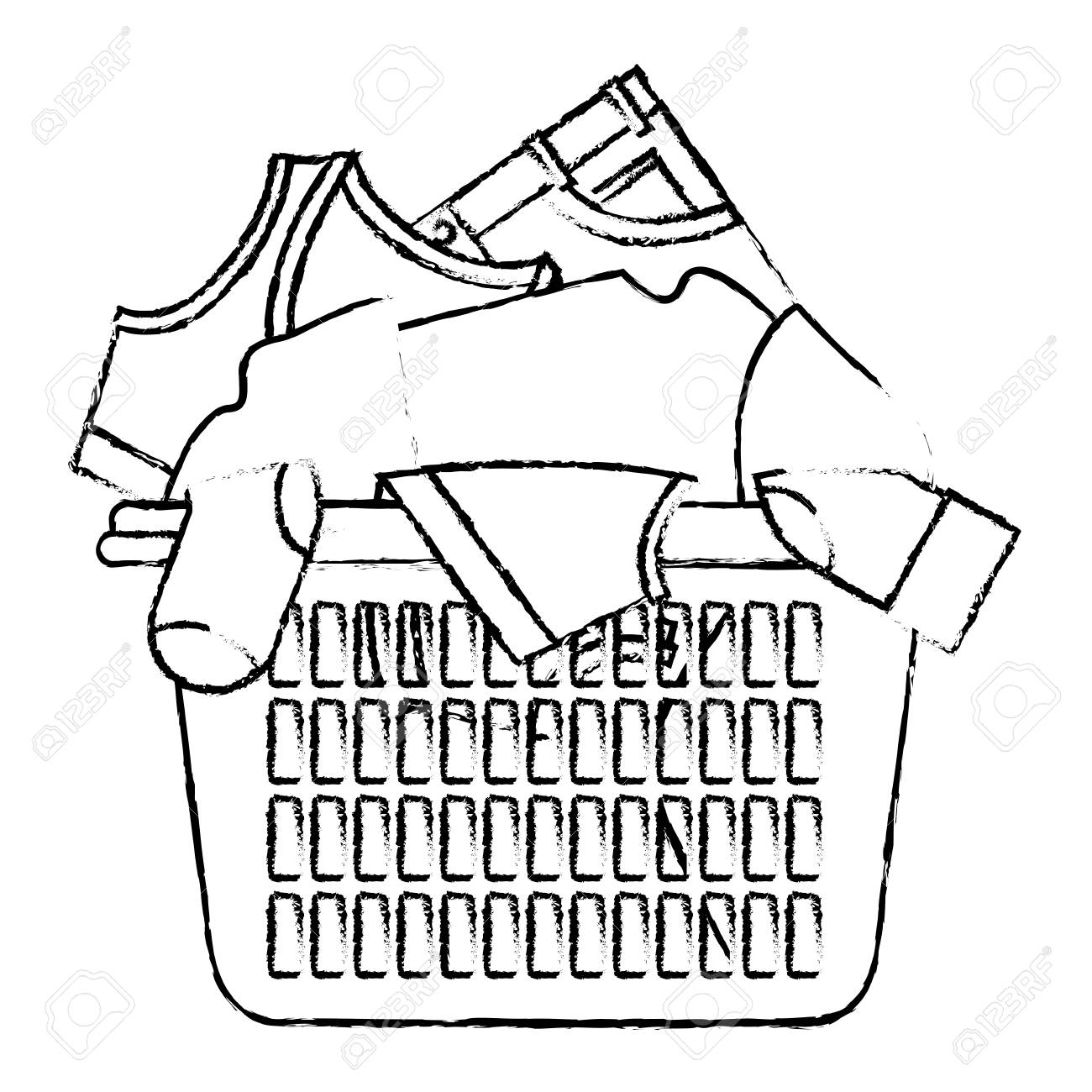 1300x1300 Laundry Basket Black White Clipart
