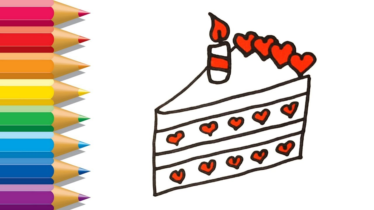 1280x720 how to draw piece of cake painting for kids piece of cake