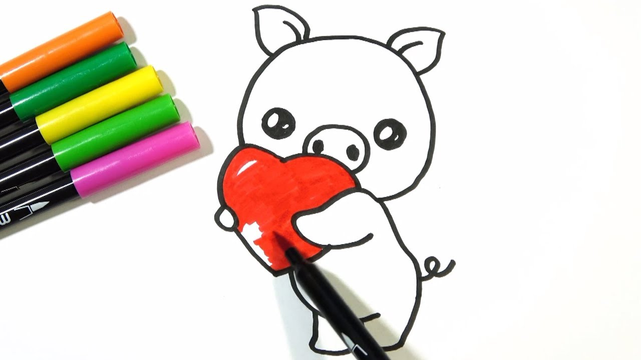 1280x720 How To Draw Cute Pig Holding A Heart Hde