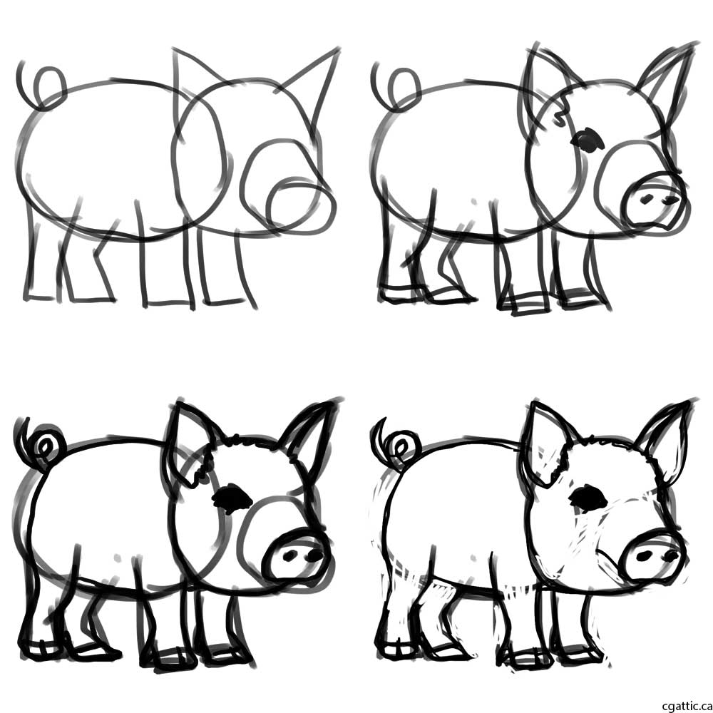 1000x1000 Pig Cartoon Drawing In Steps With Photoshop