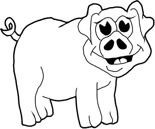 500x417 How To Draw Cartoon Pigs Farm Animals Step