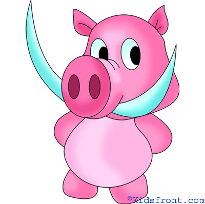 400x398 How To Draw A Pig Cartoon For Kids, Learn Step