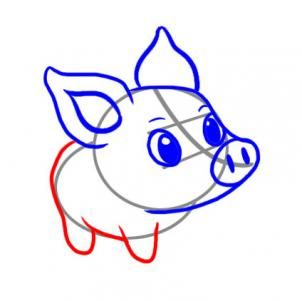 302x301 How To Draw A Simple Pig, Step