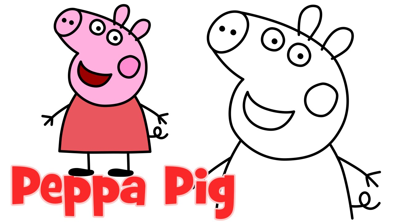 1280x720 How To Draw Peppa Pig Characters Step
