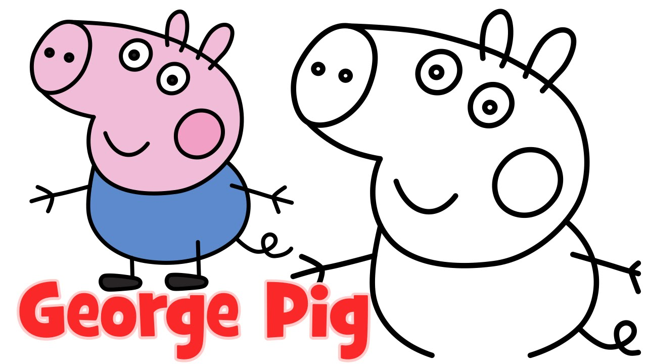 1280x720 How To Draw Peppa Pig Family George Step